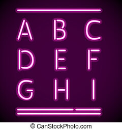 Realistic Neon Alphabet, A-I - Vector mesh realistic letters...