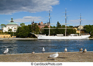 Old Chapman Ship in Stockholm - The Admiralty House and the...
