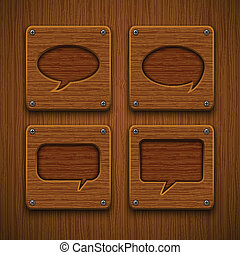 Set of realistic wooden speech bubbles. Vector illustration.