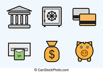 finance and bank icons - vector icon set