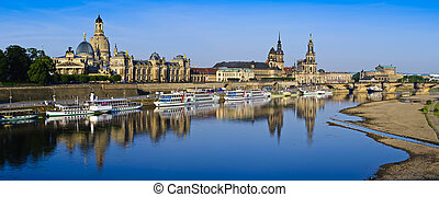 Dresden city panorama - panorma with historic city center of...
