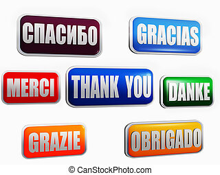 Thank you in different languages and colors