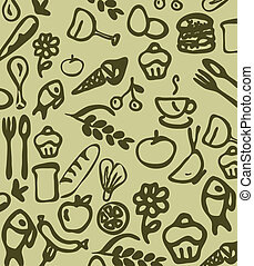 utensils and food daly wallpaper - vector illustration of...