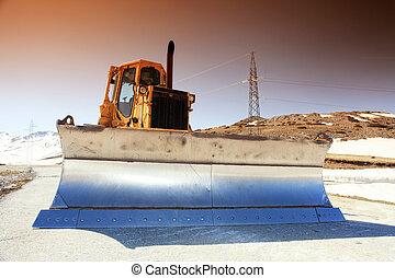 snow-cleaning bulldozer