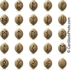 Runic Stones with Magical Spells Big set on white background...