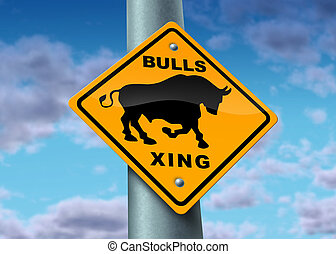 Bull Market Sign - Bull market sign as a yellow street icon...