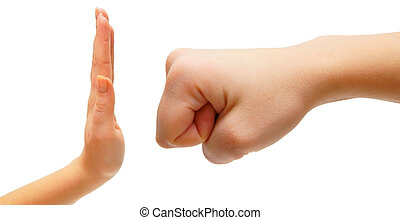 Blow and resistance. Hands. On a white background. Isolated.