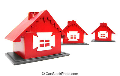 Toy houses. On a white background.