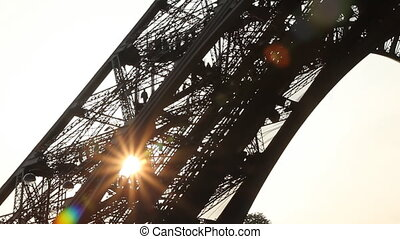 Eiffel Tower Sunset Timelapse - Leg of Eiffel Tower at...