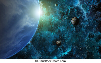 Planetary System - This image shows planets with stars
