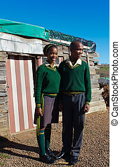 Two school kids - Two teenagers in the shacks