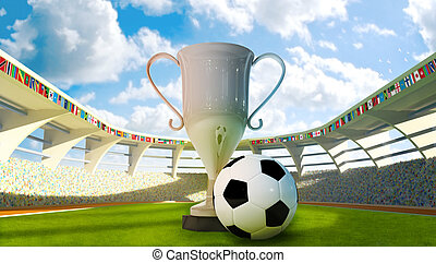 Cup and Soccer ball in the stadium - Cup and Soccer ball on...