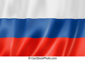 Russian flag - Russia flag, three dimensional render, satin...