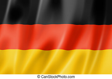 German flag - Germany flag, three dimensional render, satin...