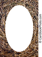 Isolated oval photoframe of straw bales background -...