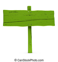 old horizontal wooden green sign over white background with nails