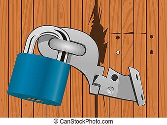 Wooden door with a broken lock