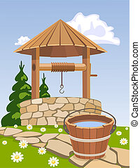 Old wooden well and bucket of water