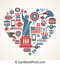 America love - heart shape with many vector icons - US love...