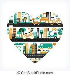 City love - heart shape with many icons - City love - heart...