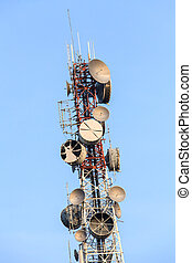 Telecommunications tower with several kind of antennas