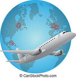 airplane world - illustration of airplane around the world