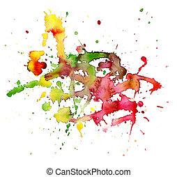 abstratos, aquarela, pintado, backgro