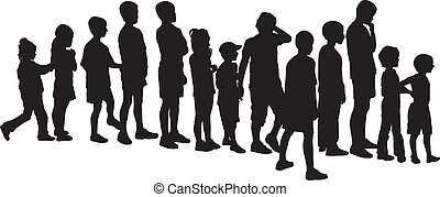 Children waiting in the crowd - vector silhouettes children,...