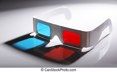 3D Glasses - Disposable cardboard 3D Anaglyph glasses with...