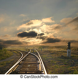 landscape with railroad rails - evening landscape with...