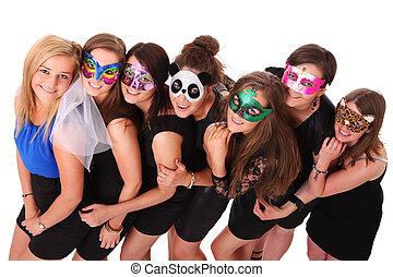 Hen party - A portrait of seven girlfriends in carnival...