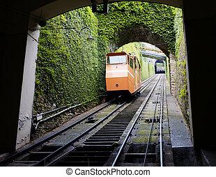 Funicular - BERGAMO, LOMBARDY, ITALY - MAY 27: Funicular,...
