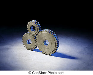 Gear Still Life - Still life with three old metallic cog...