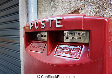 Italian Mail Box - Old red mail box in Venice, Italy