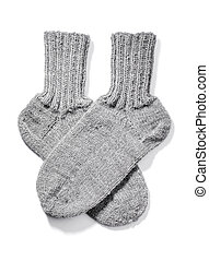 Warm Socks - Hand-knitted warm wool socks isolated on white...