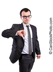 business man thumbs down - negative business man showing...