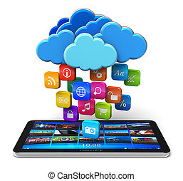Cloud computing and mobility concept: tablet PC and blue...