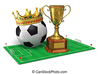 Football championship concept: golden trophy cup and soccer...