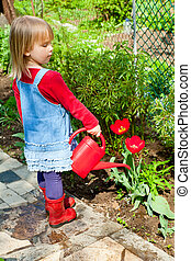 Child watering tulip in the garden - Little girl watering...
