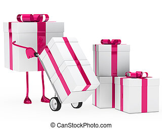 gift box hold hand truck - pink christmas gift box hold hand...