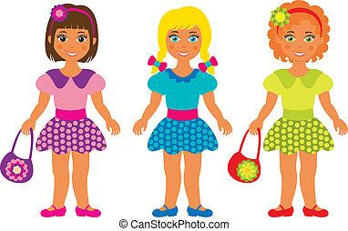 three little girls - vector illustration of three little...