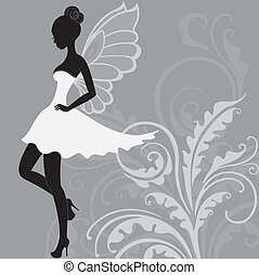 Silhouette of beautiful fairy - Silhouette of young...