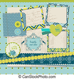 Scrapbook Design Elements - Vintage Tile with frames - in...