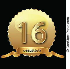 16th anniversary in gold seal vector