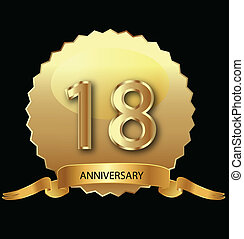 18th anniversary in gold seal vector