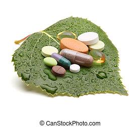 vitaminas, tabletas, píldoras, verde, hoja
