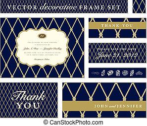 藍色, 框架, 矢量, 集合, 裝飾華麗