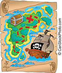 Parchment with treasure map 2 - vector illustration