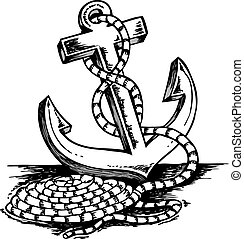 Anchor theme drawing - vector illustration