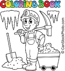 Coloring book with miner - vector illustration.